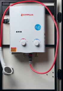 Camplux on-demand water heater/shower (installed on front storage locker door) $150